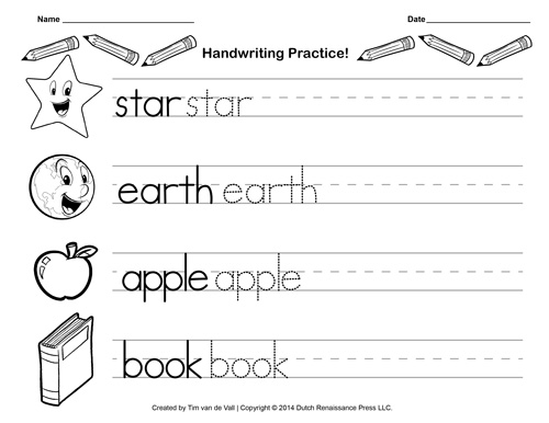 Free Printable Worksheets For Kindergarten Writing Scalien – Printable Kindergarten Writing Worksheets