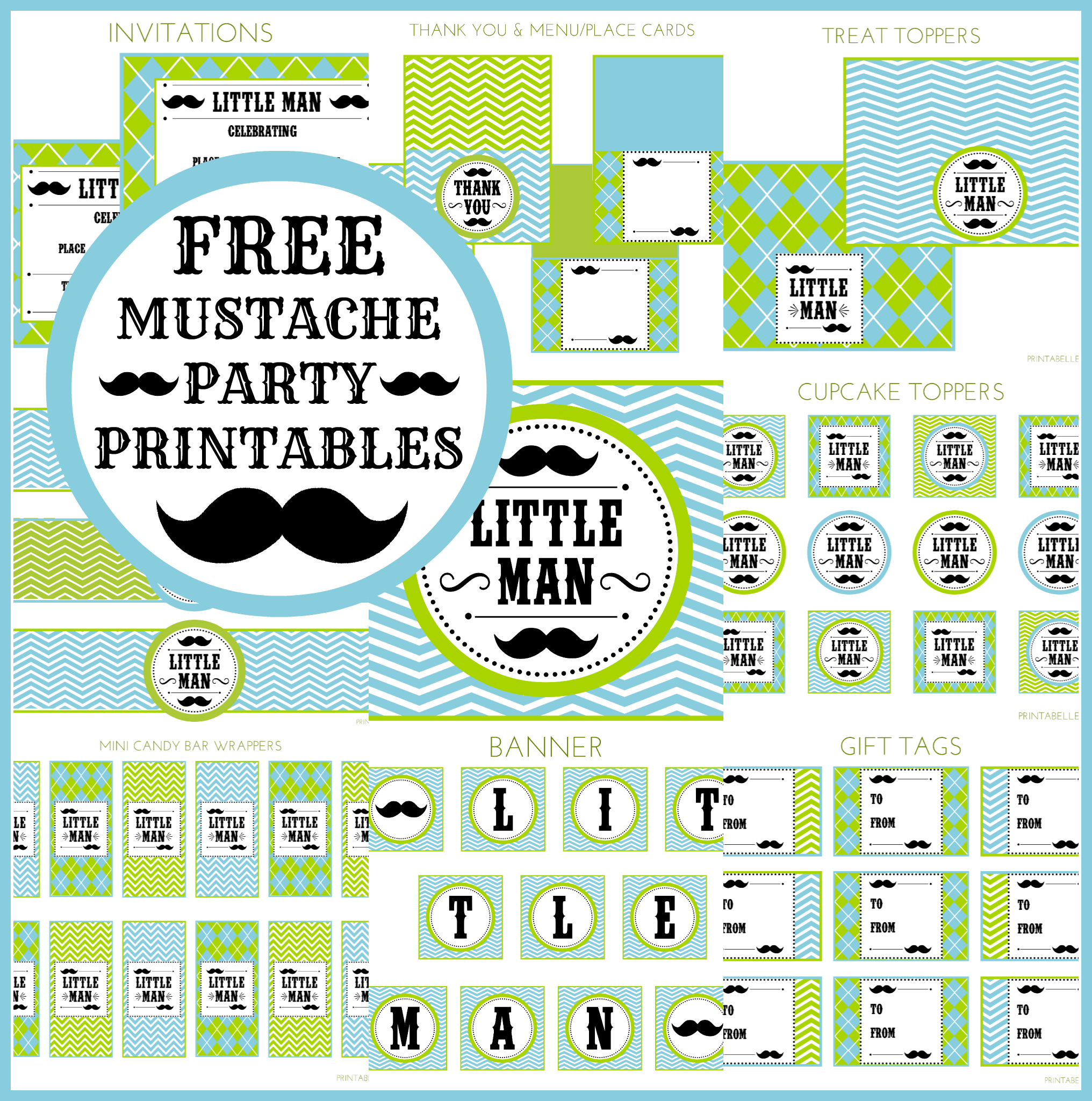 Little Man Mustache Baby Shower Free Printables