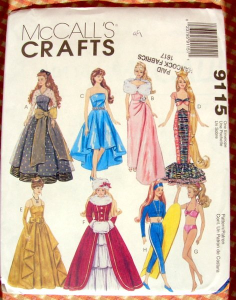 7 Images of Bed Doll Patterns Barbie Clothes Free Printable
