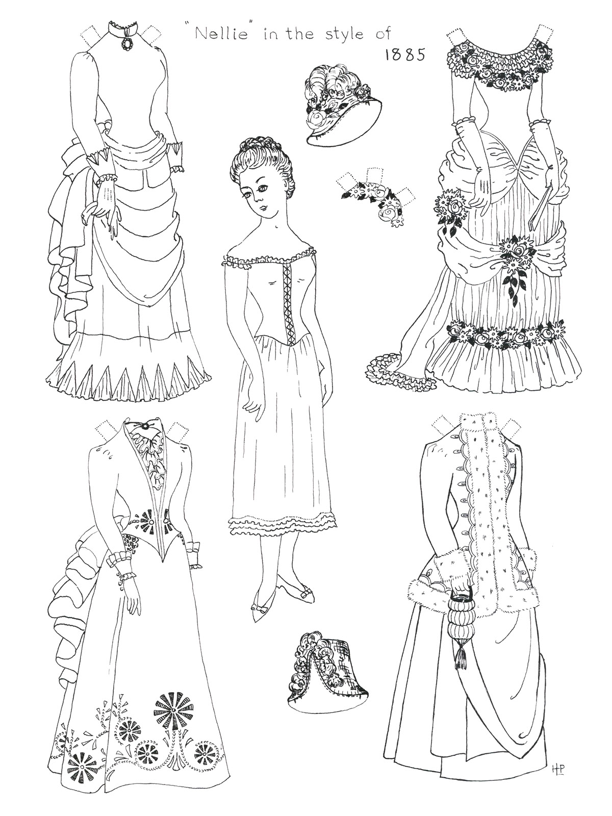 9 best images of free printable paper dolls to color for Paper doll coloring page