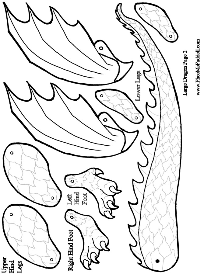 6 best images of dragon template printable simple for Cardboard dragon template