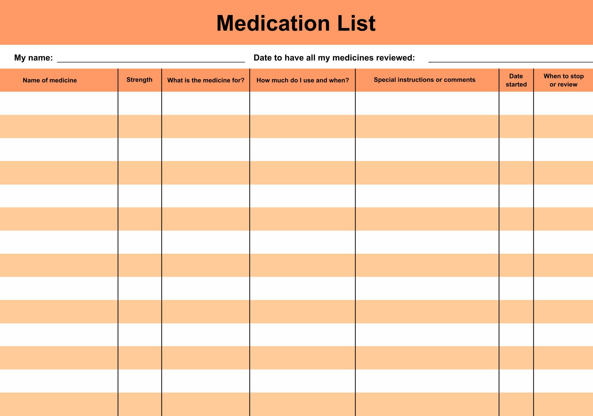 Personal Daily Medication Log Sheet