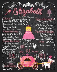 Princess First Birthday Chalkboard