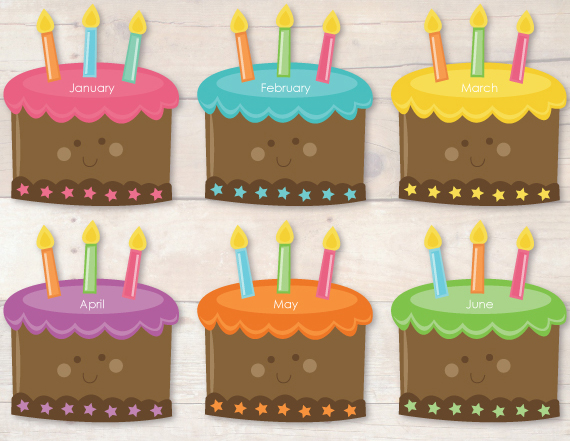 4 Images of Monthly Birthday Cake Printables