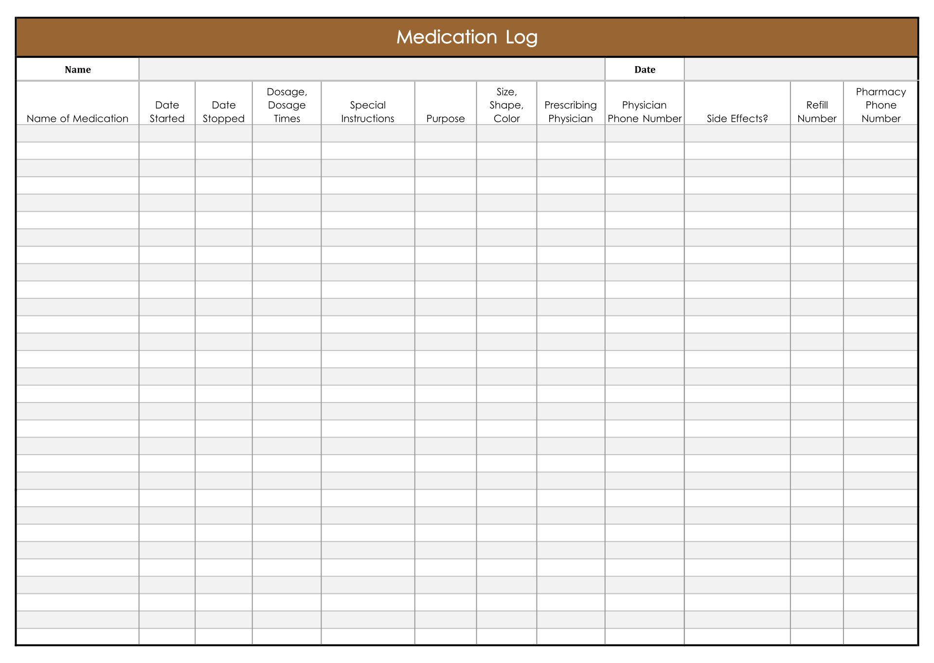 Printable Daily Medication Log Template