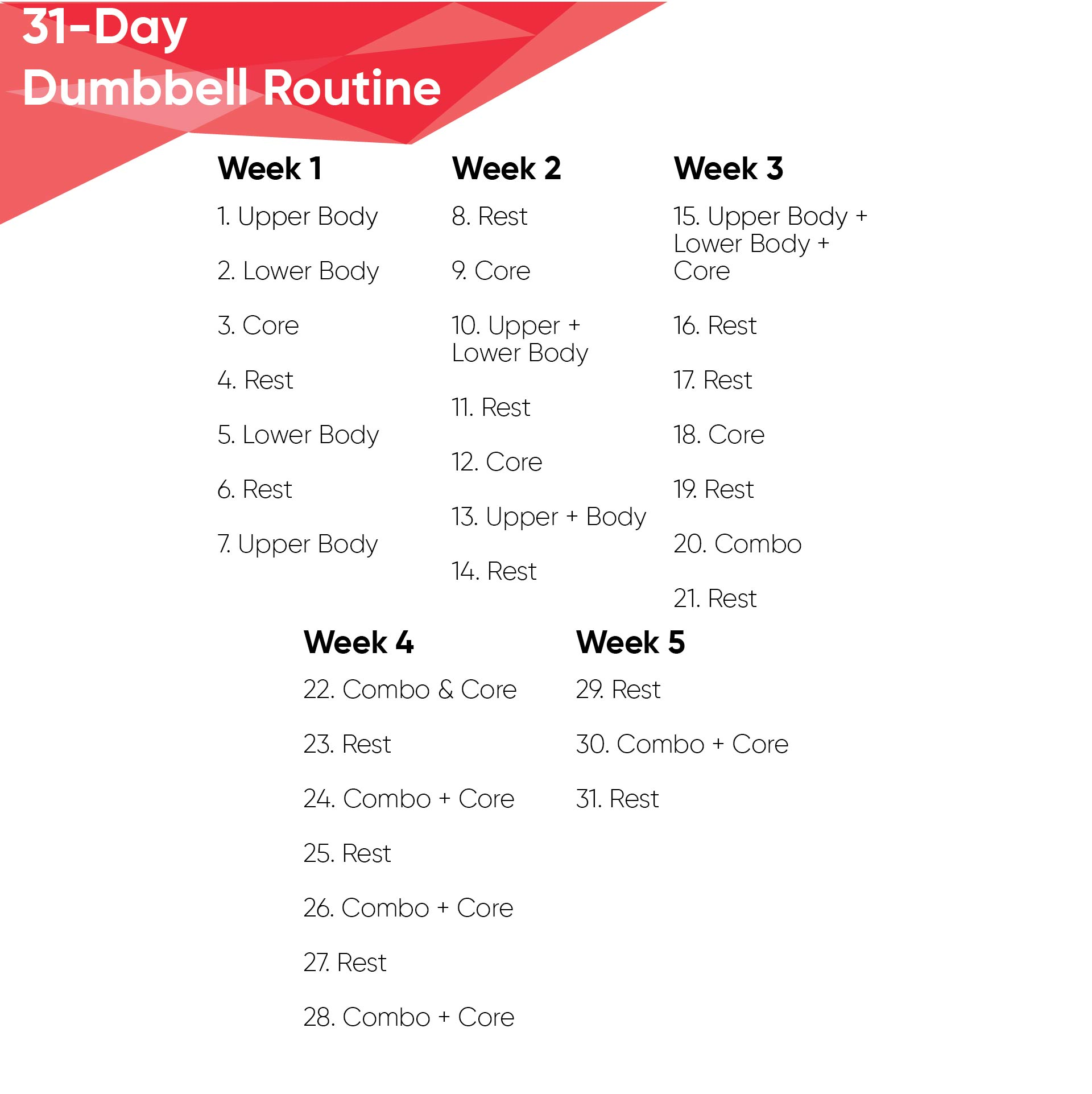 Printable Dumbbell Workout Routine Chart
