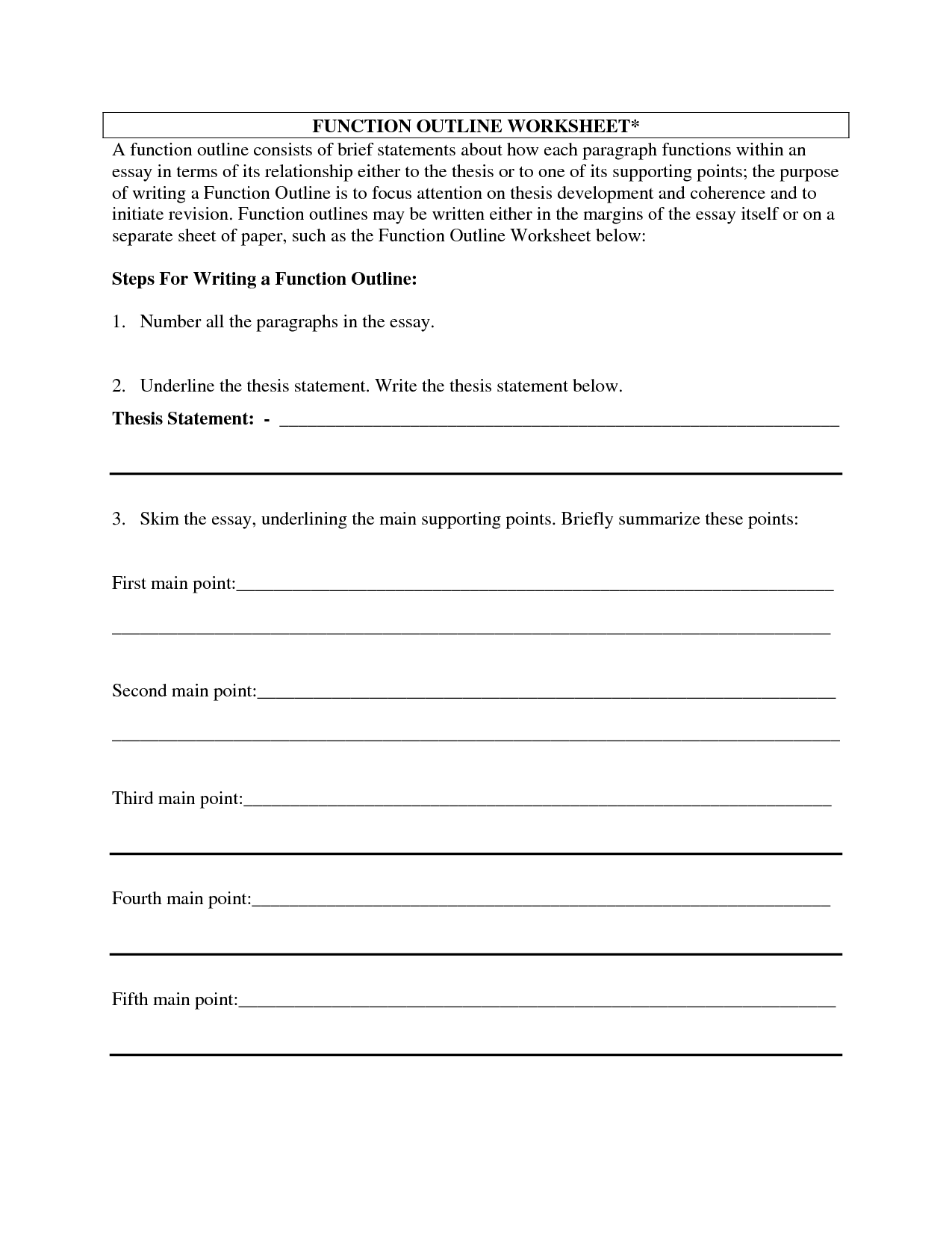 Essay outline worksheet