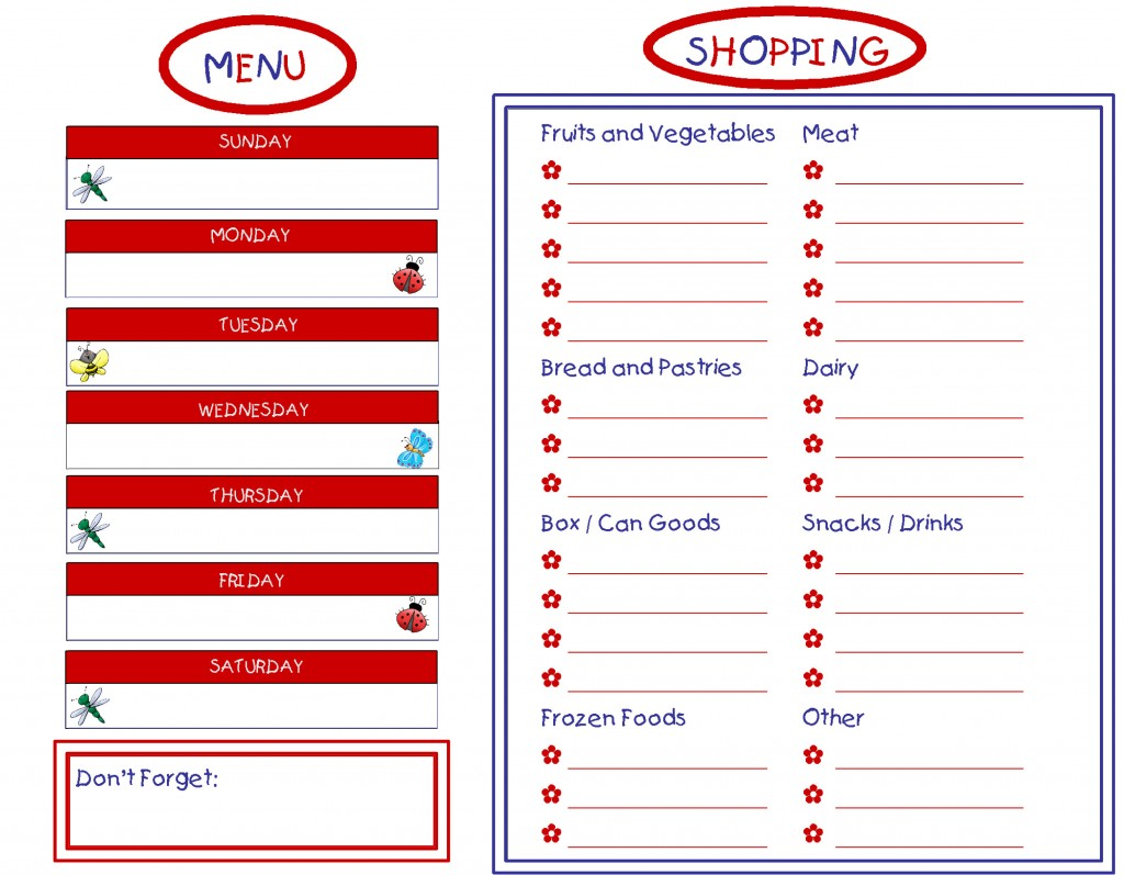 6 best images of printable grocery list and menu free for Menu planning template with grocery list