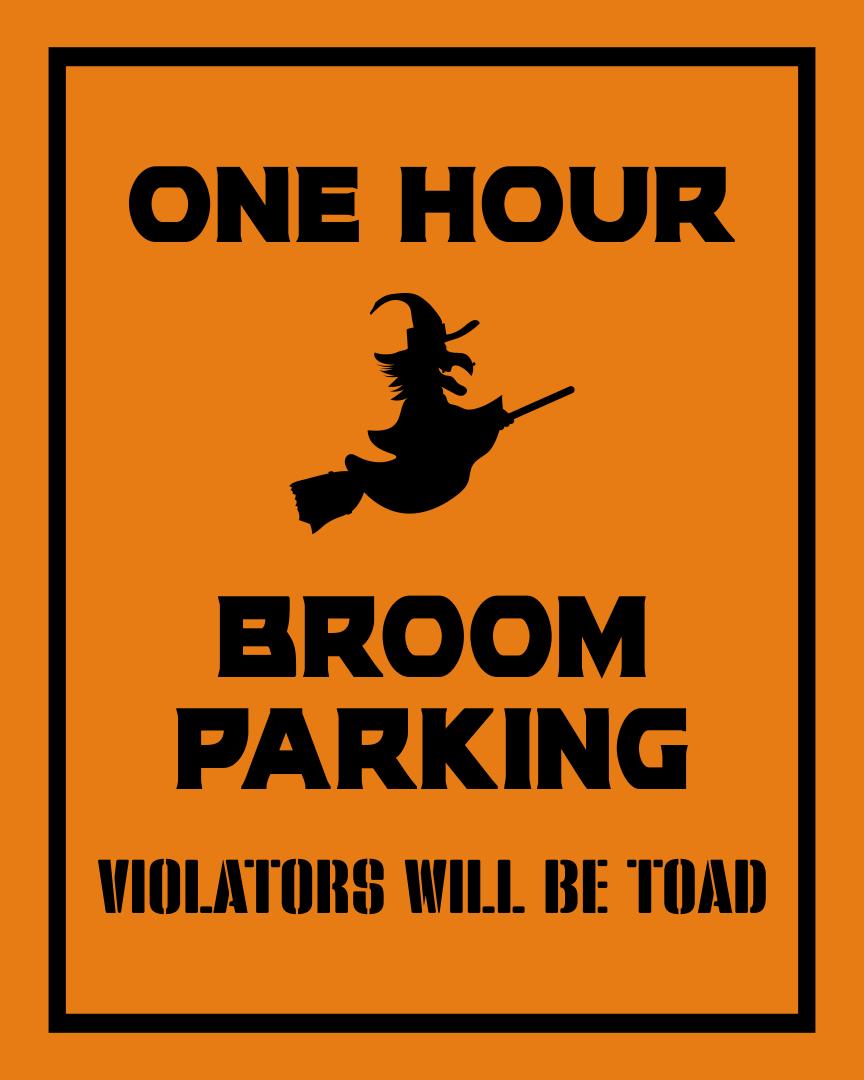 Printable Halloween Broom Parking Sign
