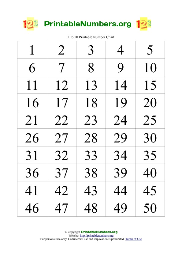 6 Images of Numbers To 50 Chart Printable