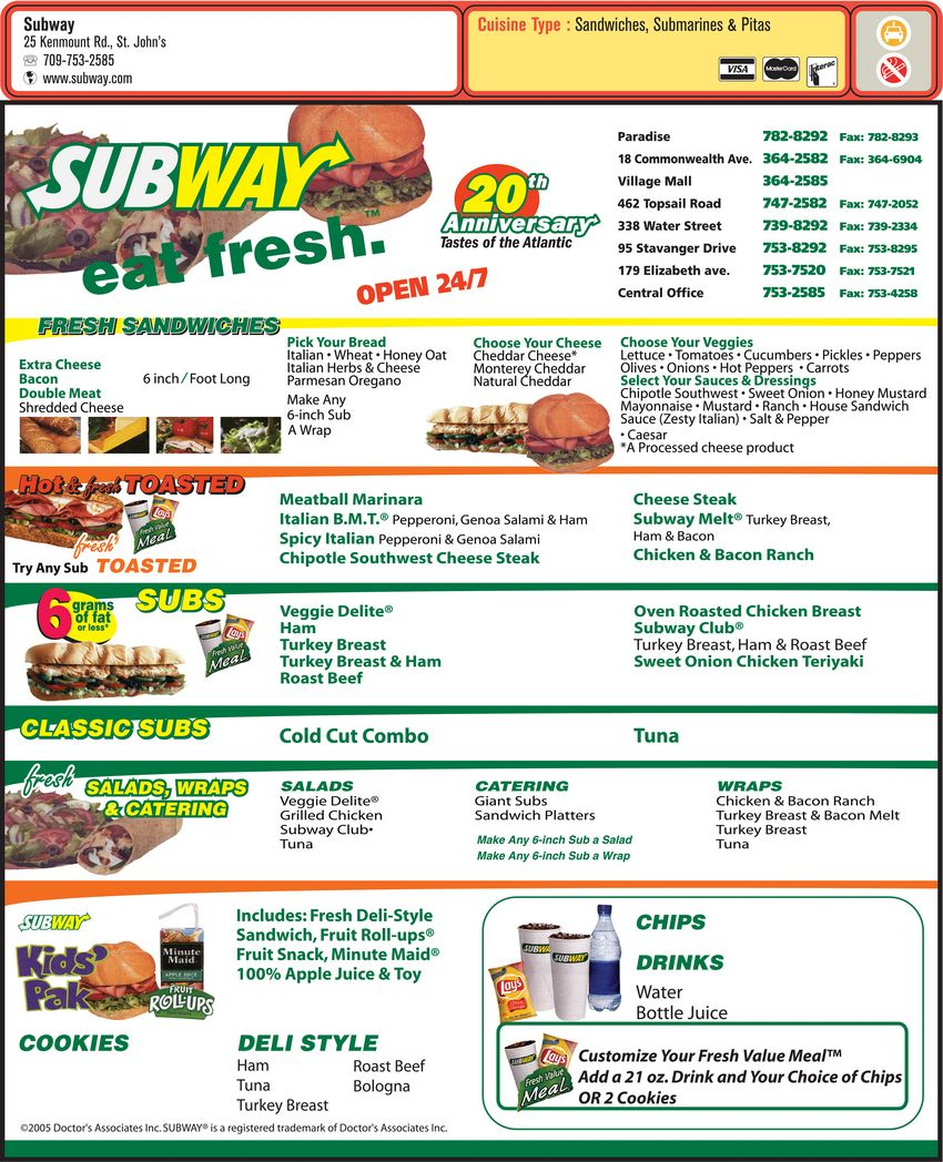 Recent prices for the entire Subway Store Catering's menu. Taste sandwiches, salads, wraps, baked goods like cookies, donuts, and muffins/5().