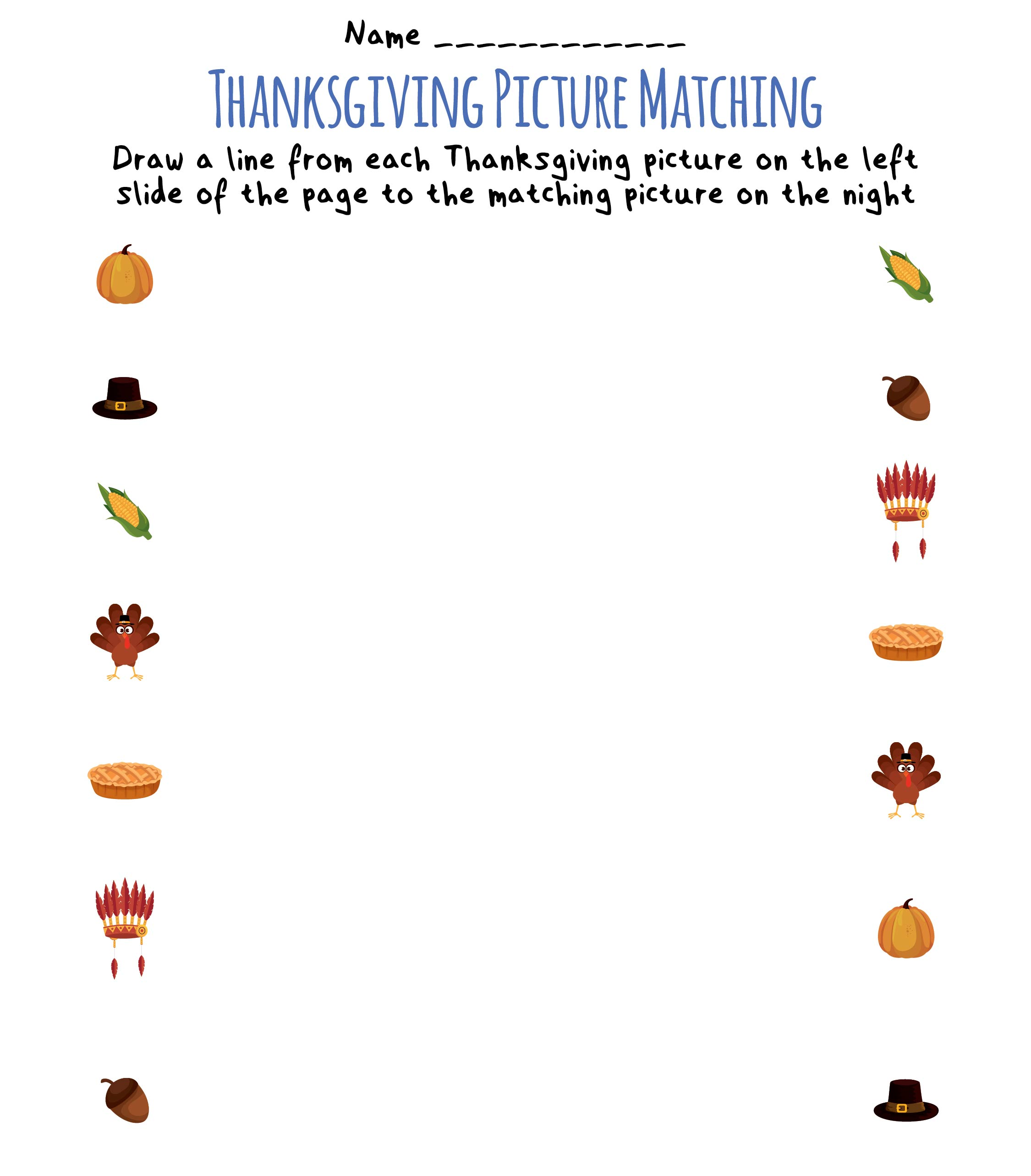 Printable Thanksgiving Matching Worksheets