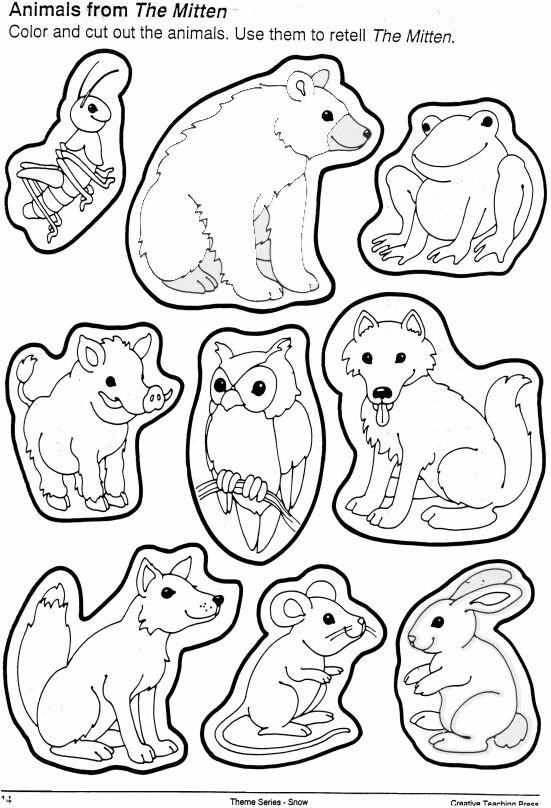 5 Images of The Mitten Animals Printable Book