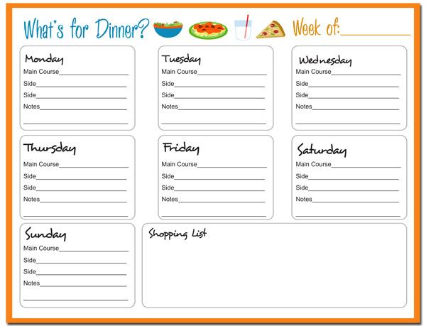 7 Images of Printable Weekly Dinner Meal Planner