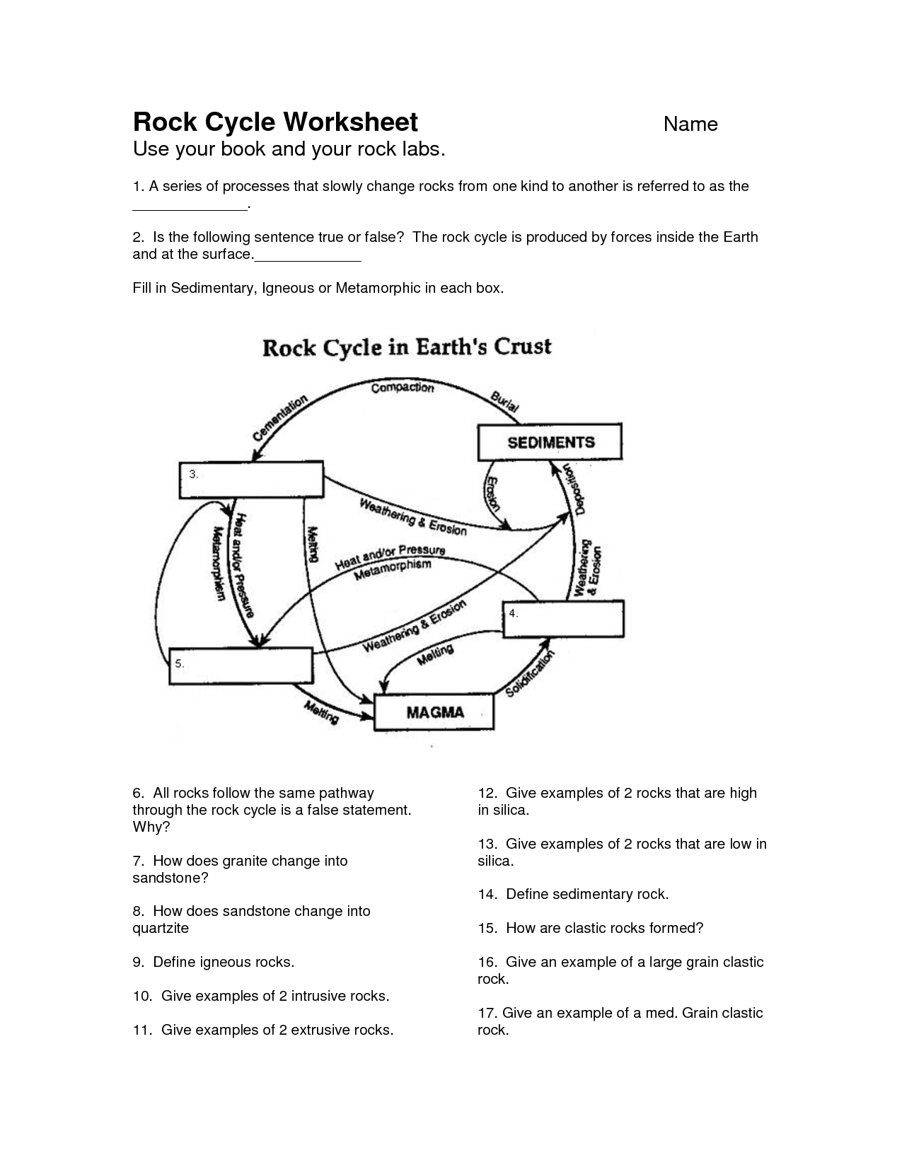 Printables The Rock Cycle Worksheets rock cycle diagram worksheet davezan