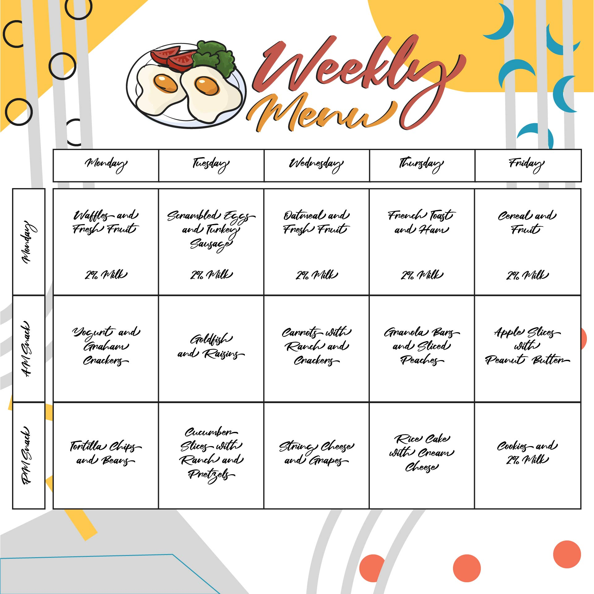 free school lunch menu templates - 9 best images of printable blank menu for daycares