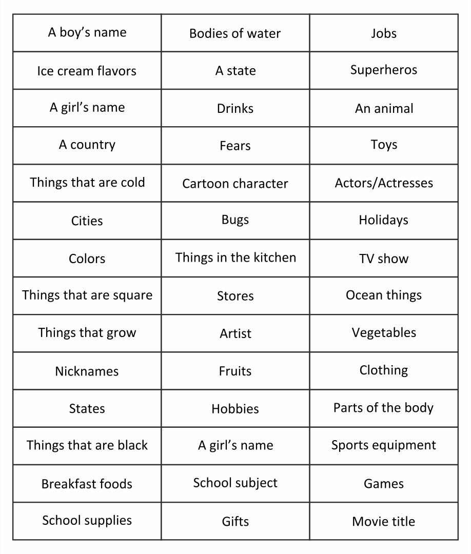 Scattergories Categories List
