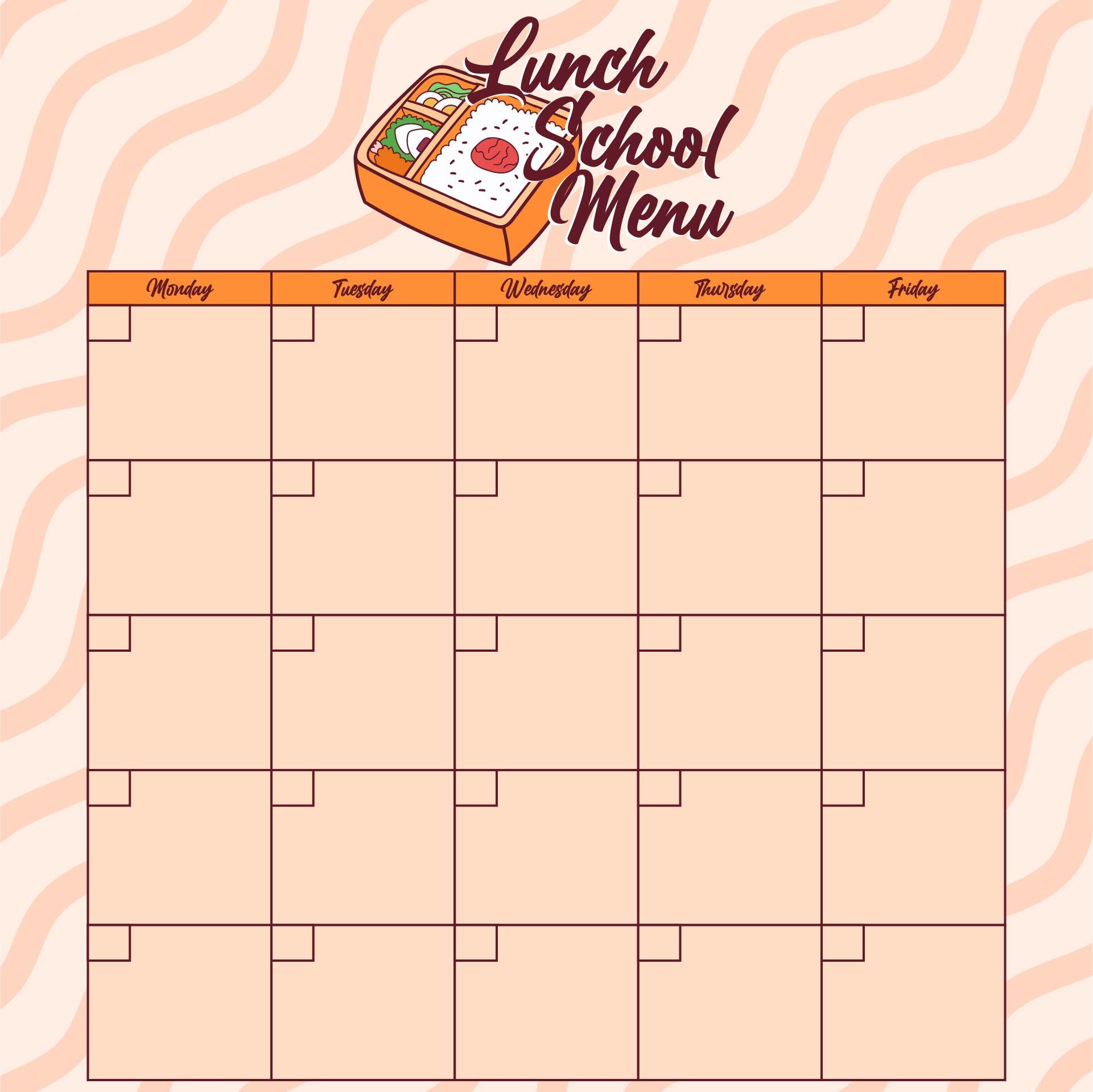 School Lunch Menu Template Printable
