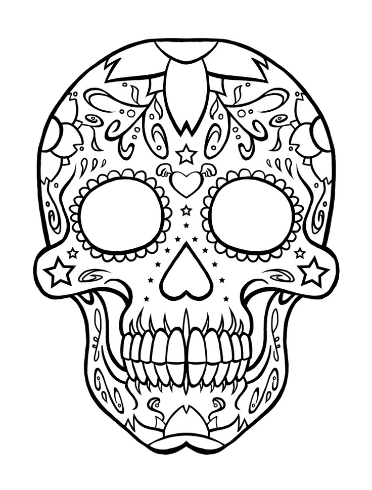 8 Images of Sugar Skull Coloring Pages Printable