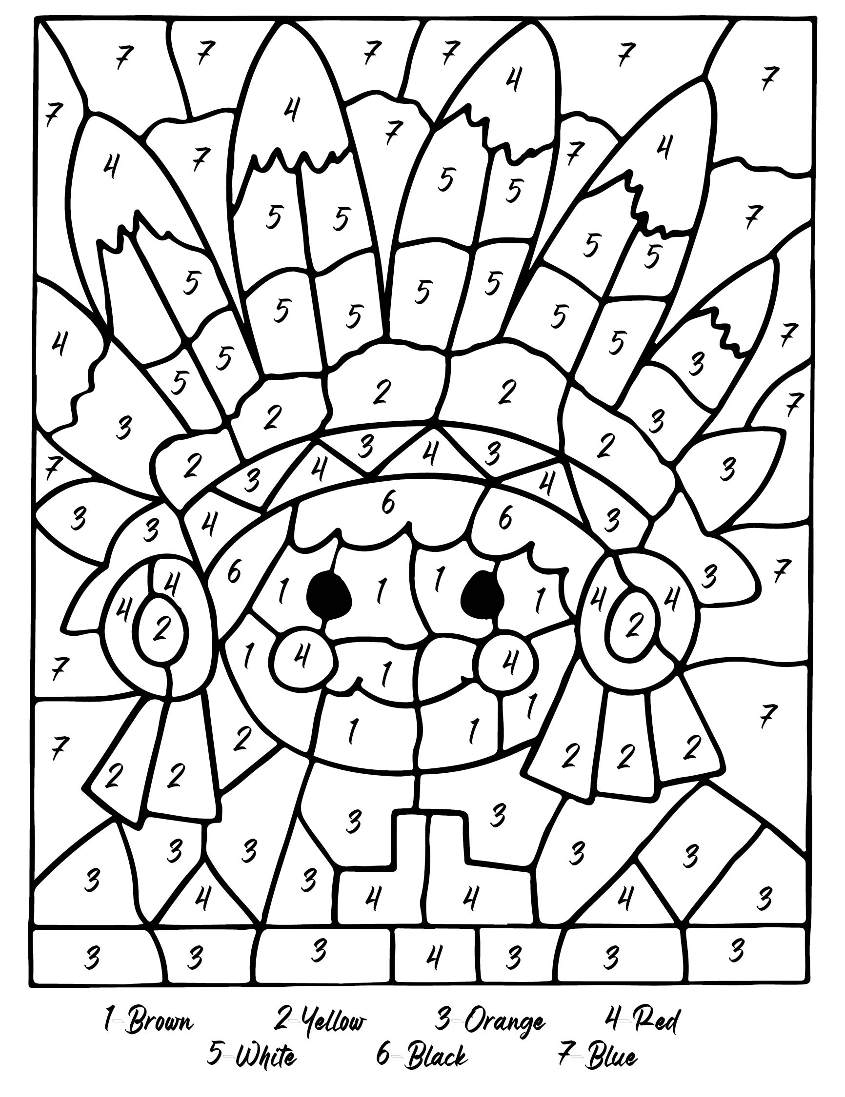 7 Images of Thanksgiving Color By Number Coloring Pages Printable