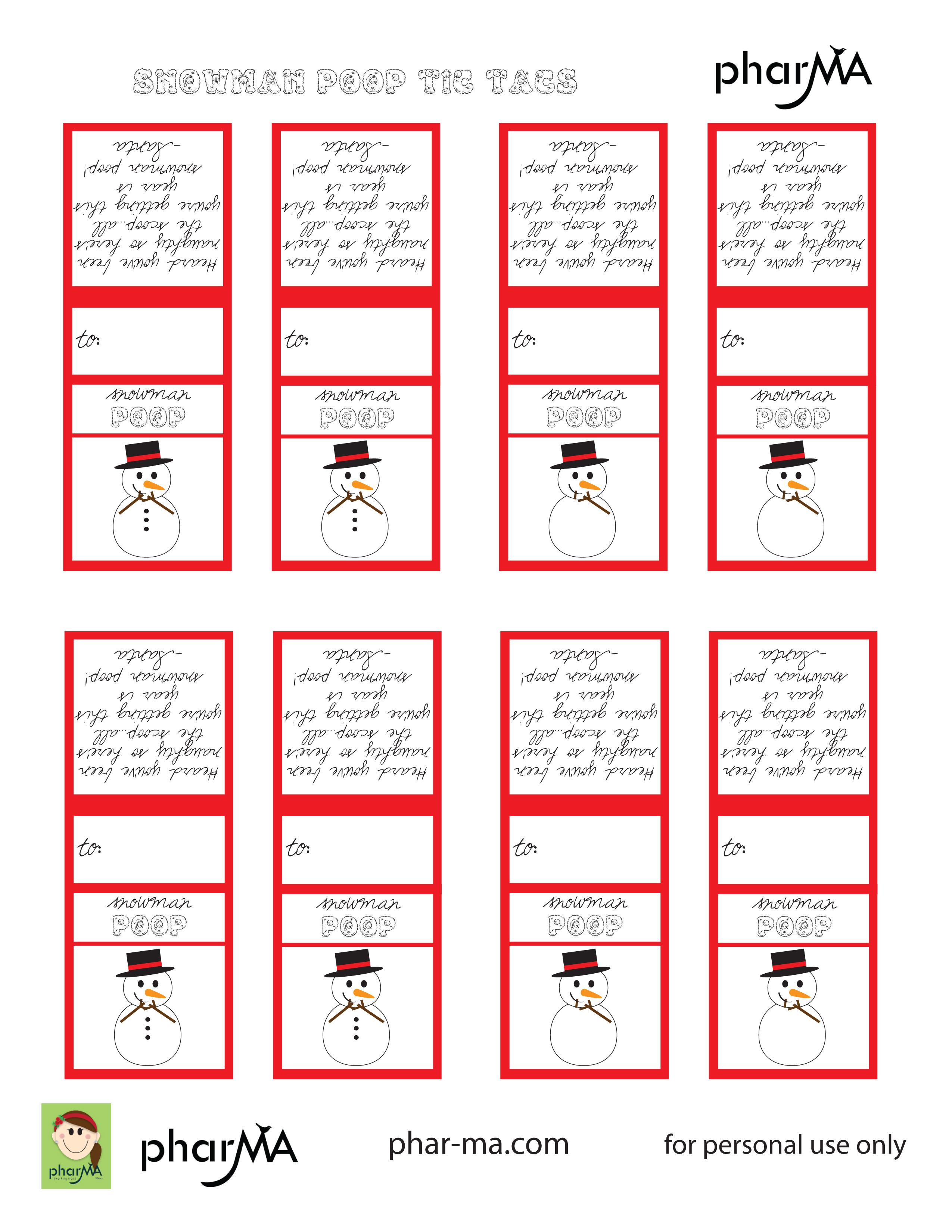Images of Snowman Poop Printable Tags - Snowman Poop Poem Printable ...