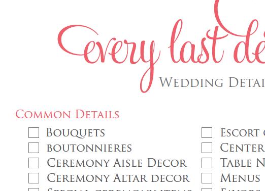 Of detailed wedding checklist printable wedding checklist print