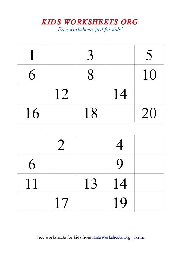 8 Best Images of Free Printable Number Worksheets 1-20 ...