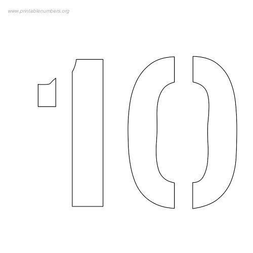 7 Images of Medium Printable Stencil Numbers 1-10