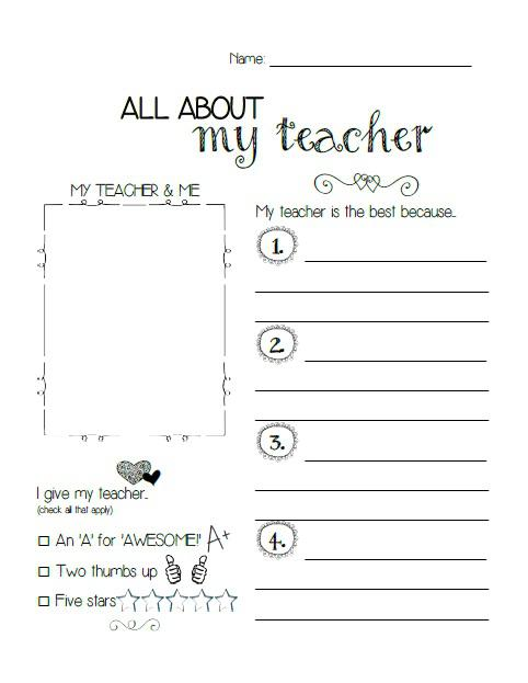 7 Images of My Teacher Printables