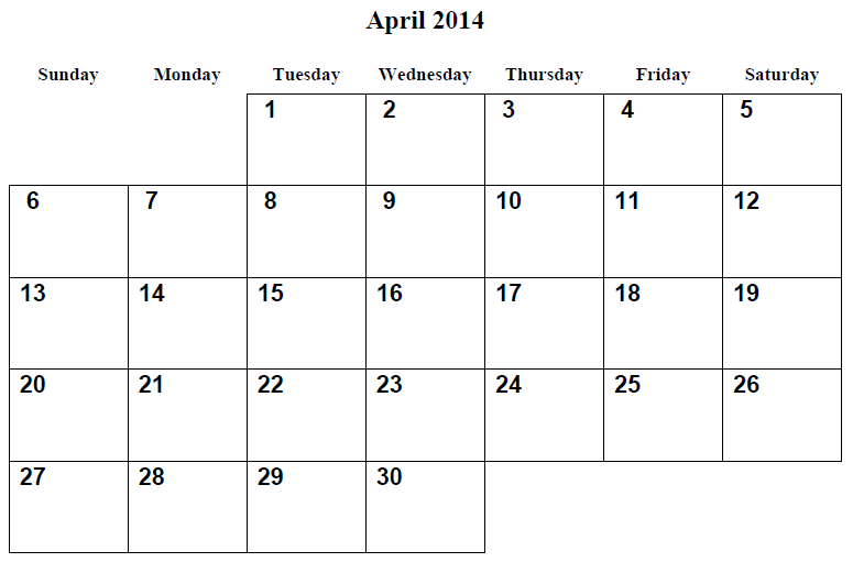 5 Images of April 2014 Calendar Printable