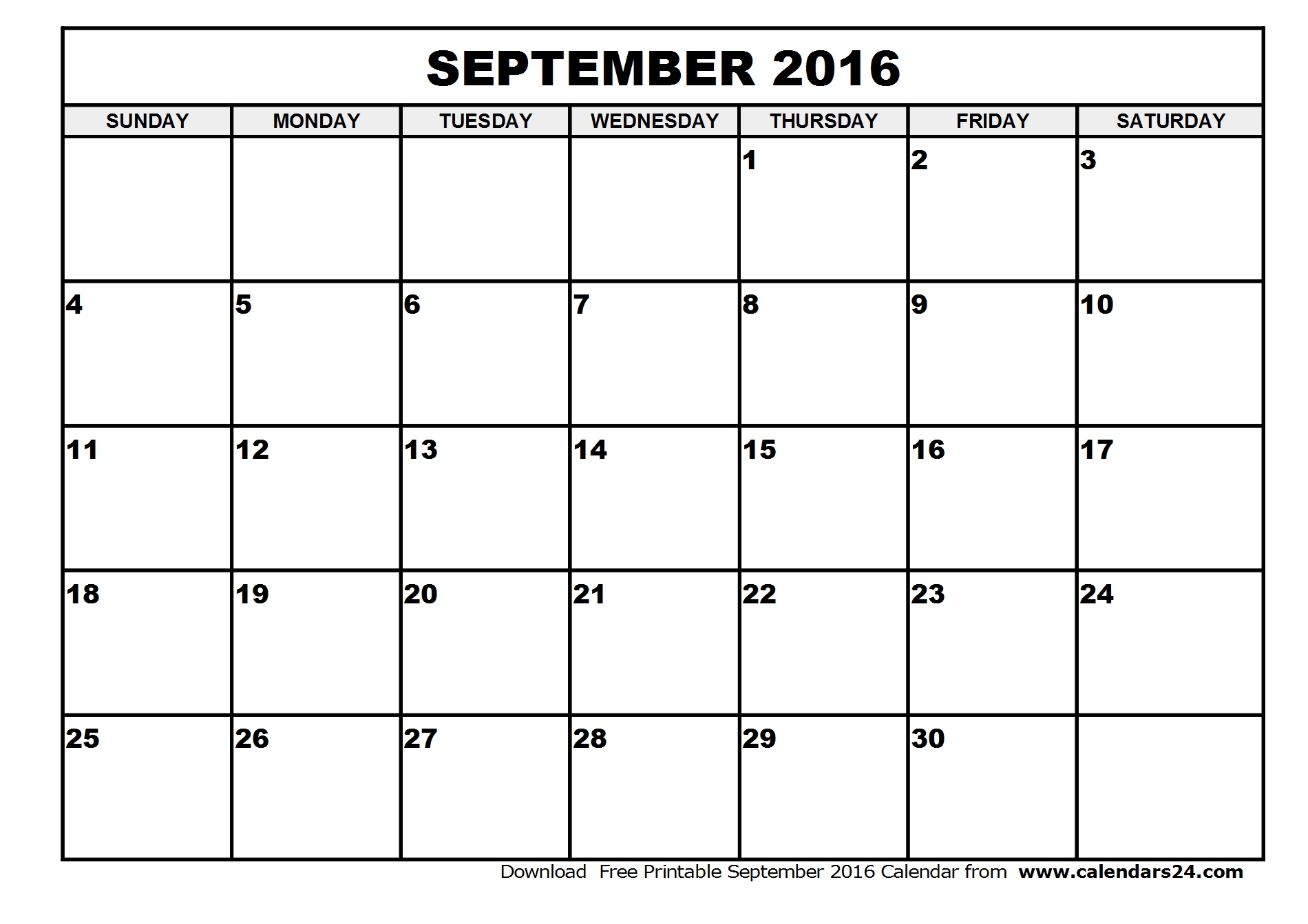5 Images of September Calendar 2016 Printables