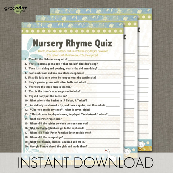 8 Images of Vintage Nursery Rhyme Printable Baby Games And Answers