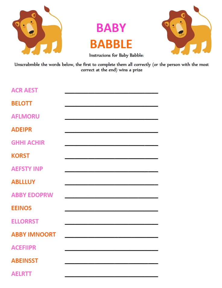 game baby shower word scramble printable printable baby shower