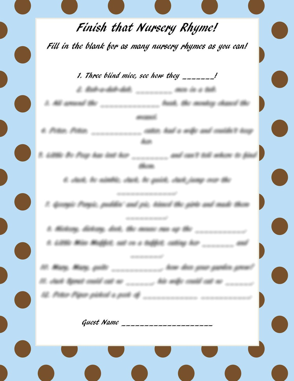 nursery rhyme printable baby games and answers baby shower game