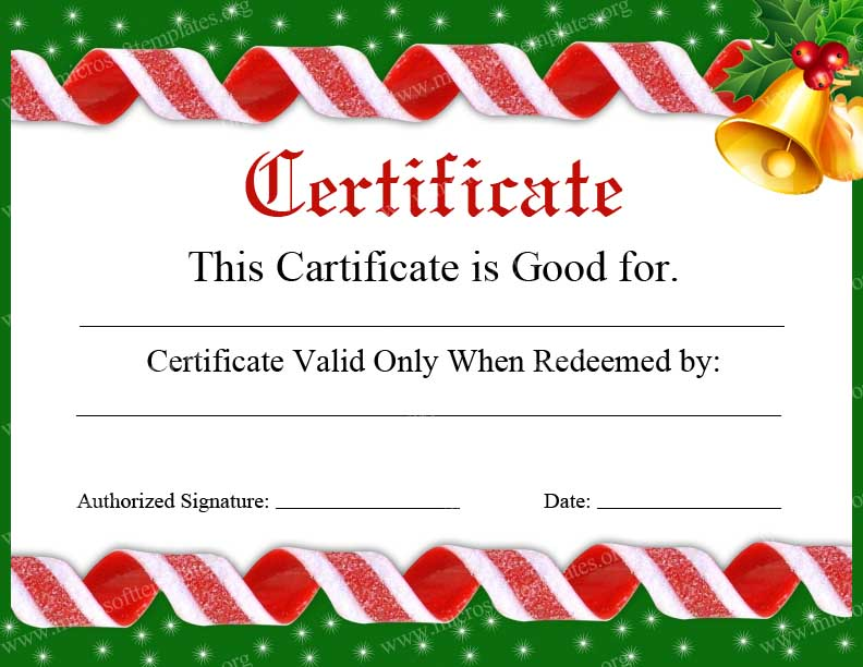 6 Images of Printable Blank Gift Certificates Christmas