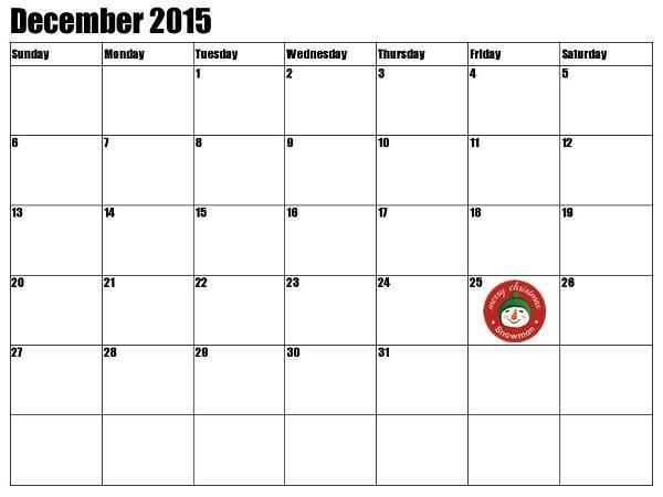 Christmas Countdown Calendar 2015 Printable