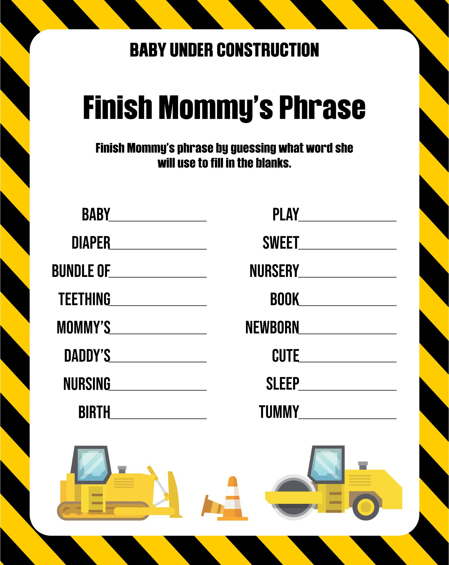 Construction Theme Baby Shower Games