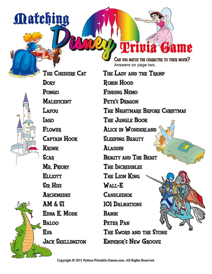 8 Images of Printable Disney Trivia