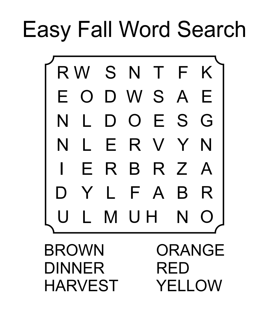 Easy Fall Word Search Puzzles