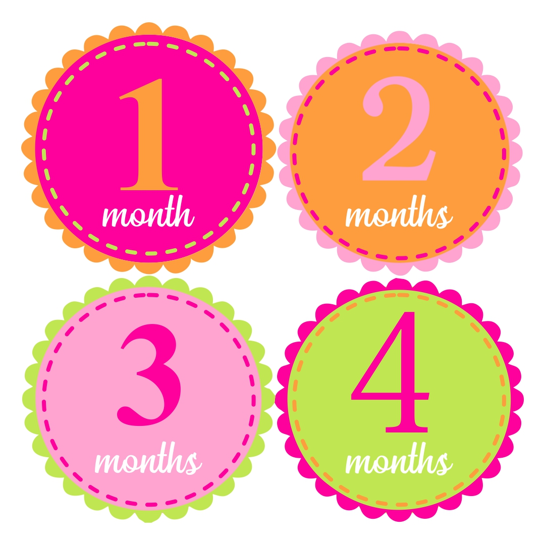 This is a graphic of Free Printable Baby Month Stickers with diy