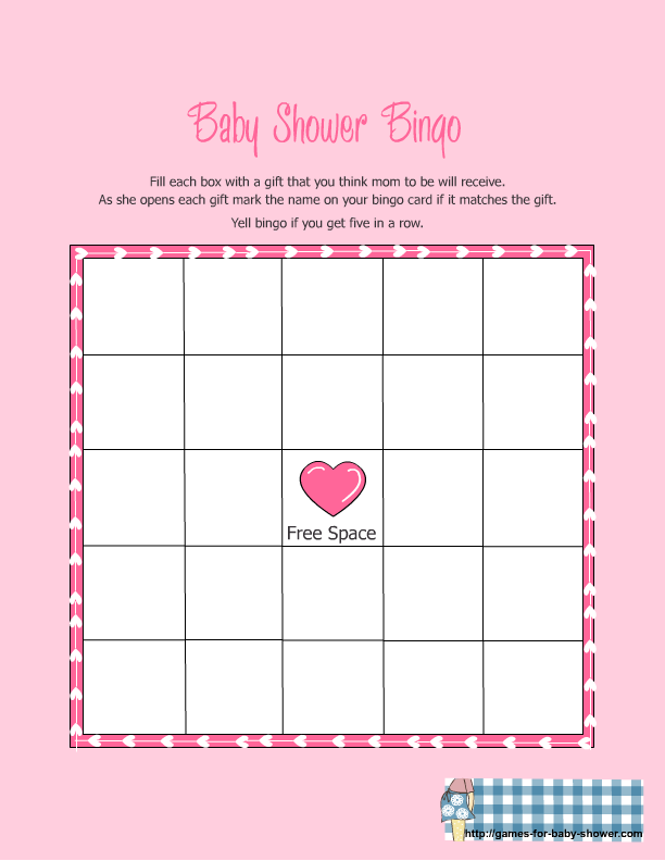 8 Images of Free Bingo Games Printable Baby Shower