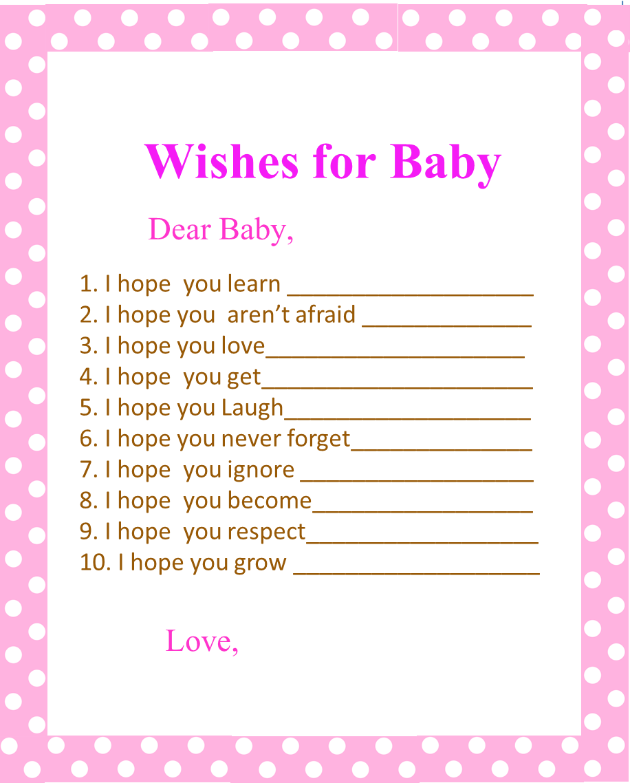 5 best images of printable baby shower wishes free for Wishes for baby printable template