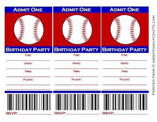 Free Printable Baseball Ticket Invitation Templates