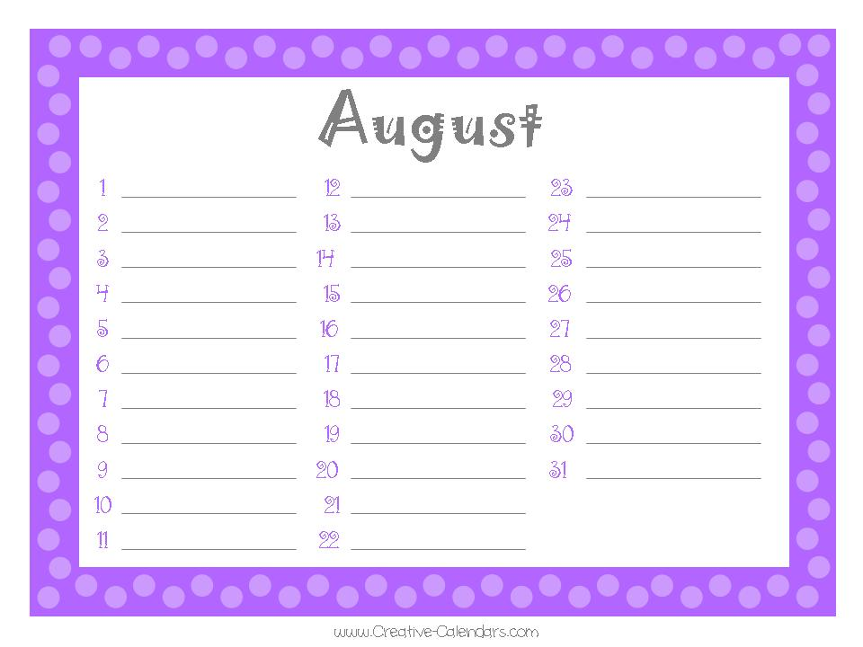 Monthly Calendar List Format : Best images of printable monthly birthday list free