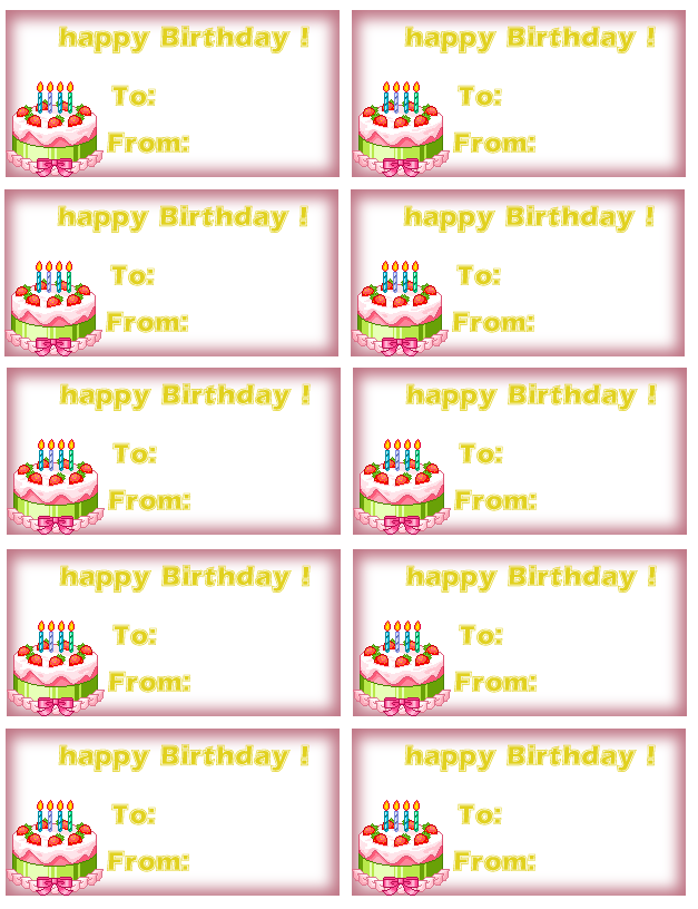 6 best images of free printable birthday tag templates for Free printable gift tags templates