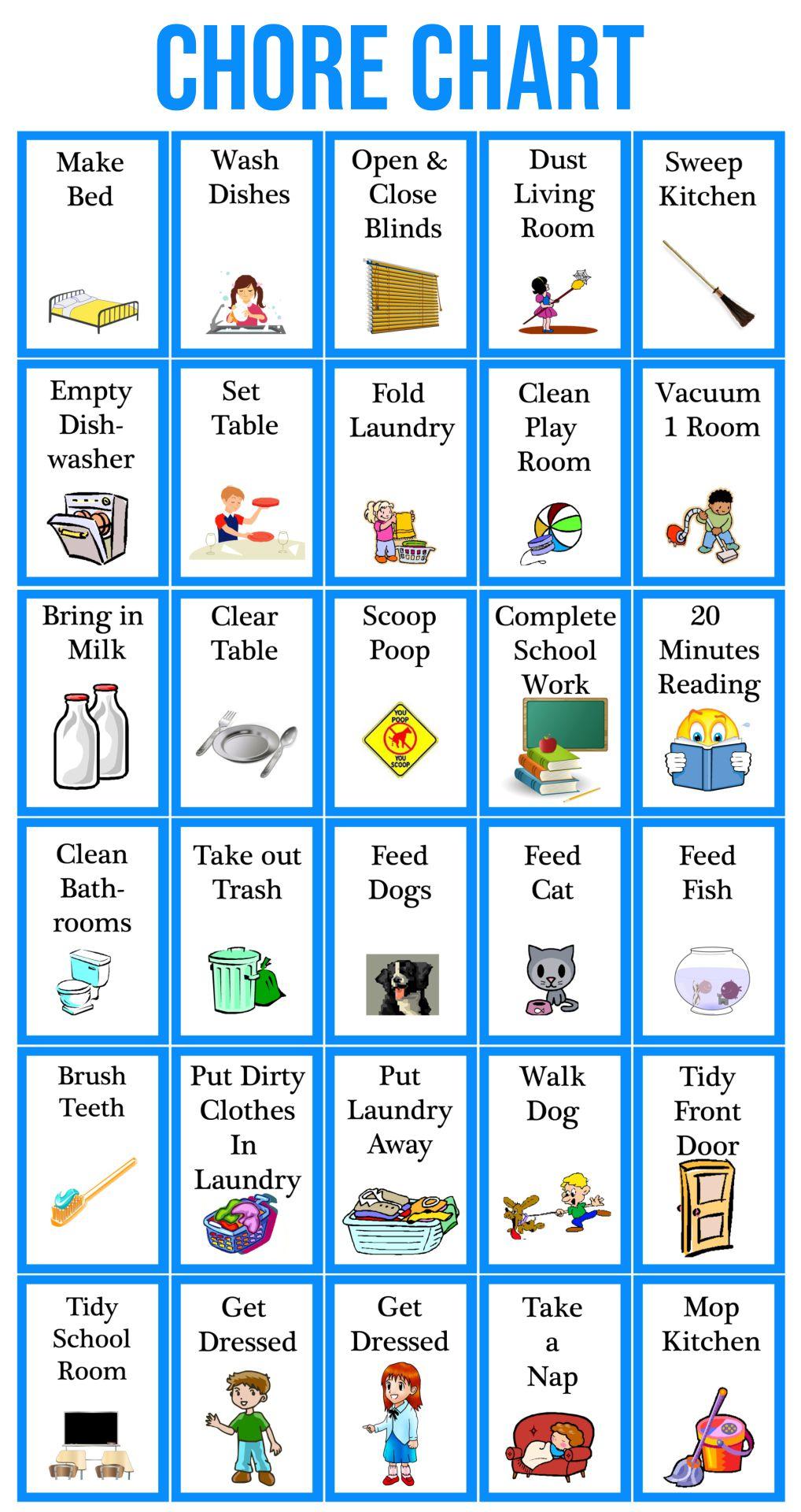 Printable Chore Chart Clip Art