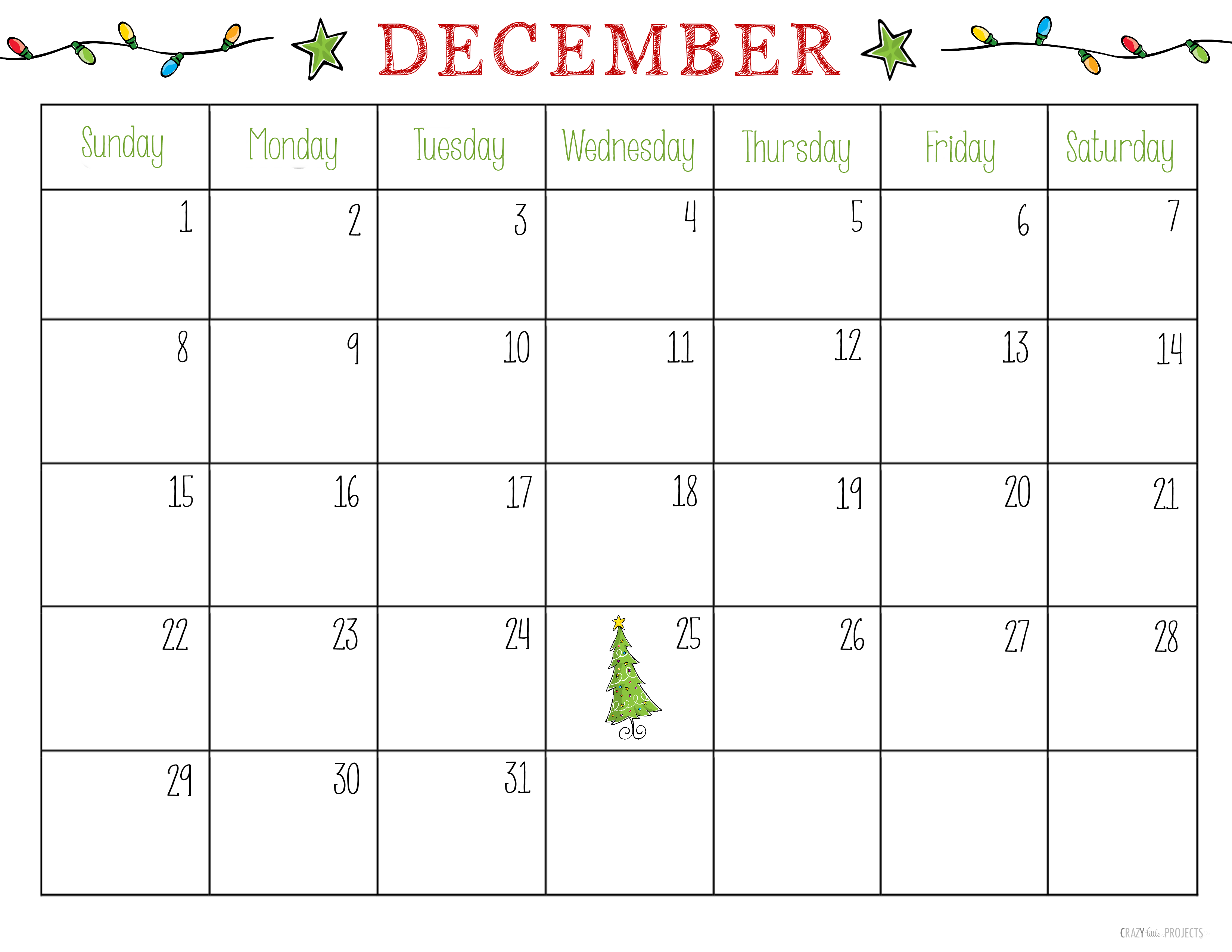 Free Printable Christmas Calendar December 2014
