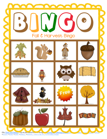7 Images of Classroom Fall Bingo Printable Cards