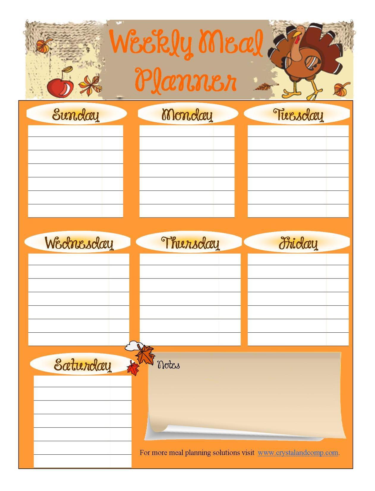 7 Images of Menu Planning Free Printable Worksheets