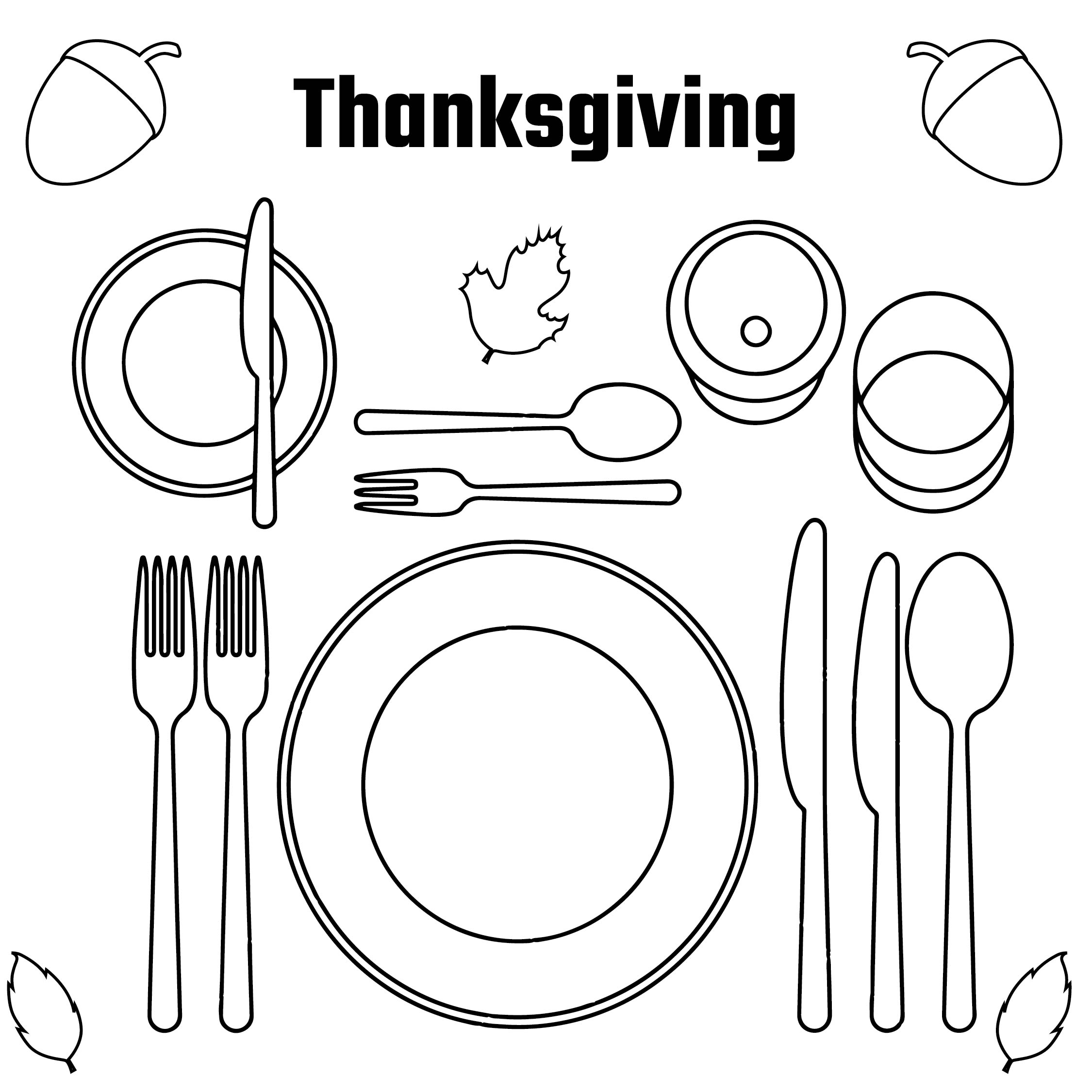 7 Images of Printable Thanksgiving Placemats To Color